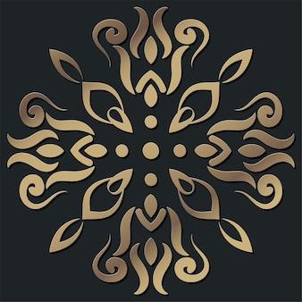 Mandala ornamento o fiore sfondo design colore dorato.