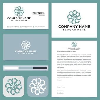 Disegno e biglietto da visita di vettore del logo del fiore dell'ornamento della mandala