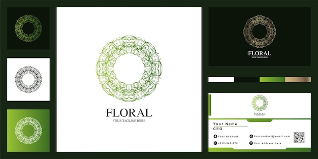 Mandala o ornamento di lusso logo modello di progettazione con biglietto da visita.