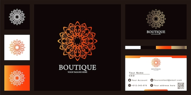 Design del modello di logo di lusso mandala o ornamento con biglietto da visita