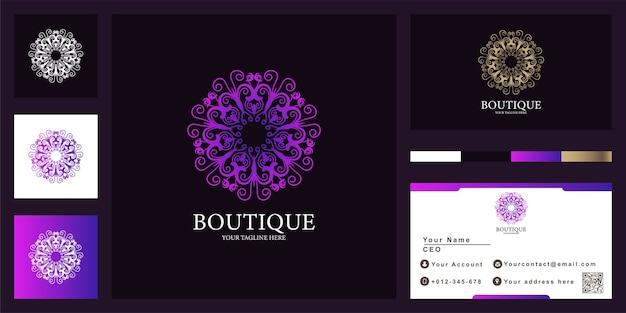 Design del modello di logo di lusso mandala o ornamento con biglietto da visita.