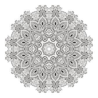 Modello mandala di elementi floreali all'henné basati su ornamenti tradizionali asiatici.