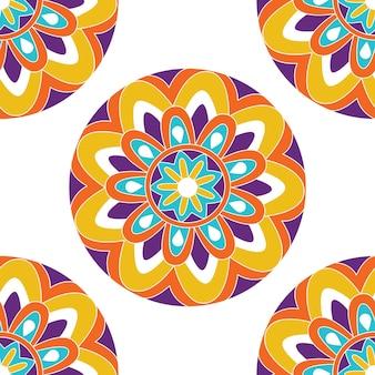 Modello di mandala cornice floreale indiana per libro da colorare