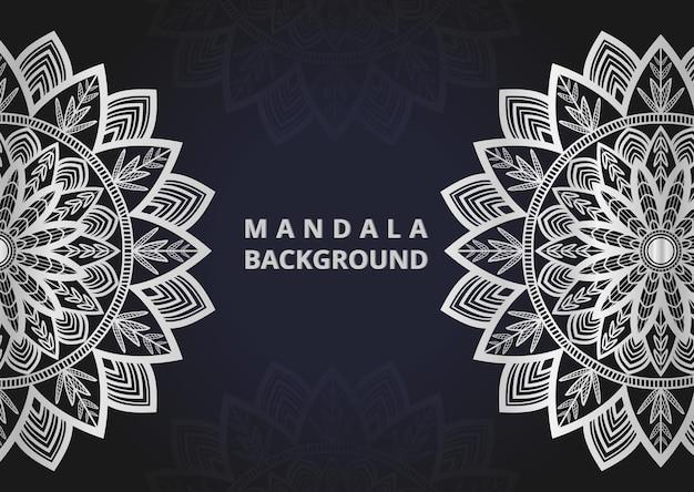 Disegno di sfondo del modello senza cuciture di mandala disegno di mandala di colore argento di sfondo mandala premium