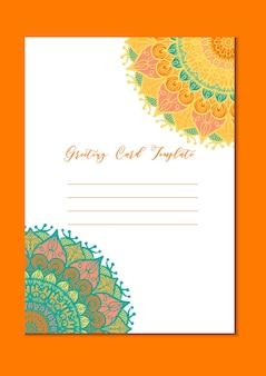 Carta modello vintage mandala in arabo e indiano, islam e ottomano, turco, stile asiatico per brochure, volantini, auguri, biglietti d'invito, copertina. formato a4. disegno ornamentale floreale per le vacanze. vettore