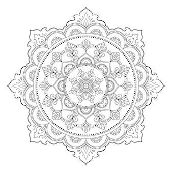 Mandala con fiore, mehndi. ornamento decorativo in stile etnico. Vettore Premium