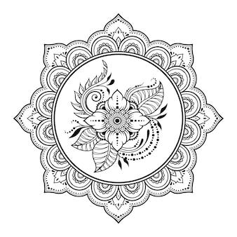 Mandala con fiore, mehndi. ornamento decorativo in stile etnico.