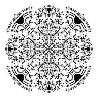 Mandala con occhi folcloristici