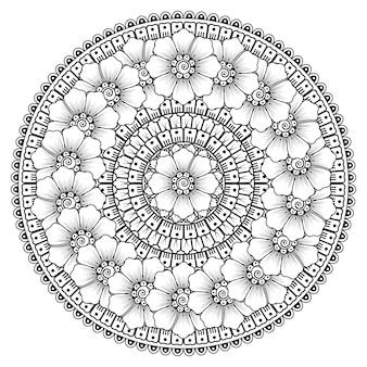 Mandala con fiori mehndi. ornamento decorativo in stile etnico. pagina da colorare.