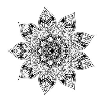 Mandala rotondo per libro da colorare. ornamenti rotondi decorativi.