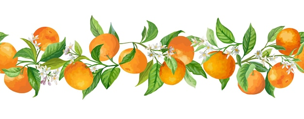 Illustrazione di vettore di rami di ghirlanda di mandarini. vintage frutti, fiori e foglie verdi disegnati a mano in stile acquerello per disegno, sfondo, copertina floreale, invito a nozze, festa di compleanno