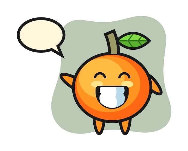 Personaggio dei cartoni animati di mandarino arancione che fa gesto della mano dell'onda, stile carino, adesivo, elemento logo