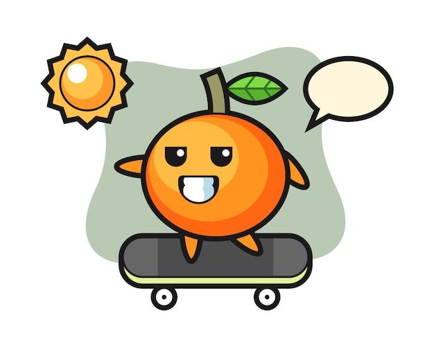 L'illustrazione del carattere dell'arancia mandarino cavalca uno skateboard, stile carino, adesivo, elemento del logo