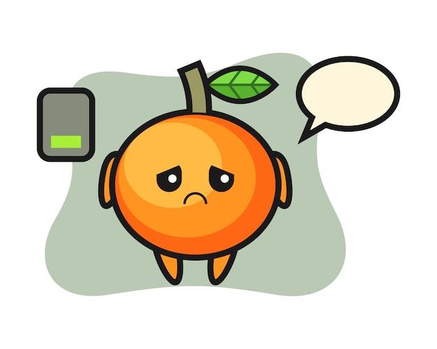 Carattere mascotte mandarino arancione che fa un gesto stanco, stile carino, adesivo, elemento logo