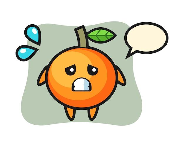 Carattere mascotte mandarino arancione con gesto di paura, stile carino, adesivo, elemento logo