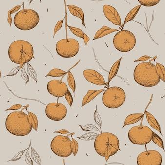 Mandarino. modello senza soluzione di continuità. insieme dell'illustrazione di schizzo. vettore