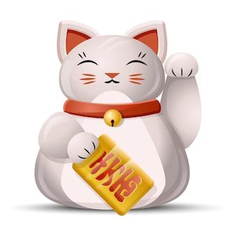 Gatto maneki neko con zampa d'ondeggiamento. gatto fortunato giapponese su bianco