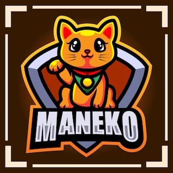 Maneki neko esport logo mascotte design