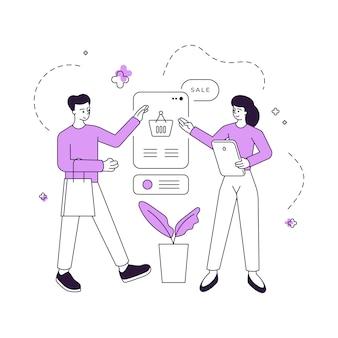 Manger offre beni al cliente durante la vendita