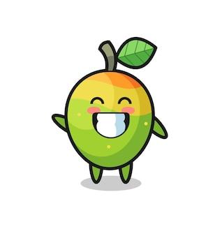 Personaggio dei cartoni animati di mango che fa il gesto della mano con l'onda, design in stile carino per maglietta, adesivo, elemento logo
