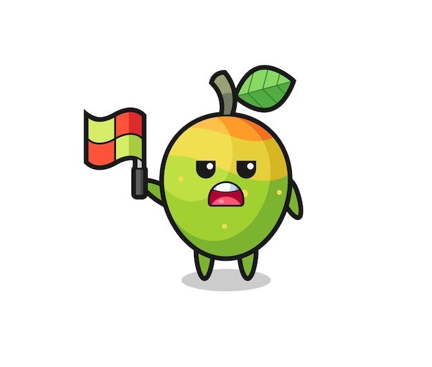 Personaggio mango come giudice di linea che alza la bandiera, design in stile carino per maglietta, adesivo, elemento logo