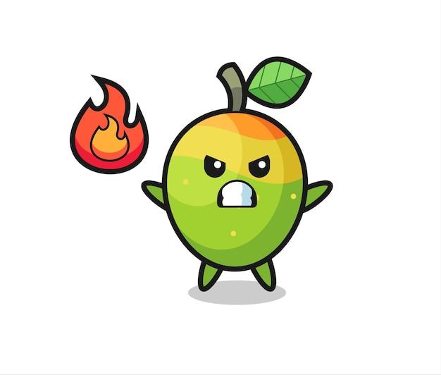 Cartone animato personaggio mango con gesto arrabbiato, design in stile carino per maglietta, adesivo, elemento logo