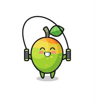 Cartone animato personaggio mango con corda per saltare, design in stile carino per t-shirt, adesivo, elemento logo