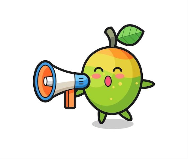 Illustrazione del personaggio di mango che tiene un megafono, design in stile carino per maglietta, adesivo, elemento logo