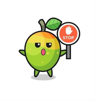 Illustrazione del personaggio di mango che tiene un segnale di stop, design in stile carino per maglietta, adesivo, elemento logo