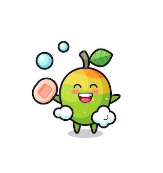 Il personaggio di mango sta facendo il bagno mentre tiene il sapone, design in stile carino per maglietta, adesivo, elemento logo