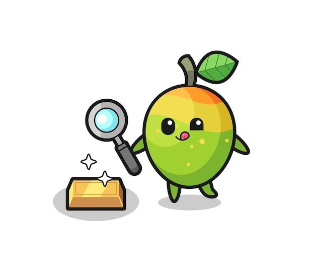 Il personaggio di mango sta controllando l'autenticità del lingotto d'oro, un design in stile carino per maglietta, adesivo, elemento logo