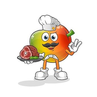 Chef di mango con mascotte di carne. cartone animato