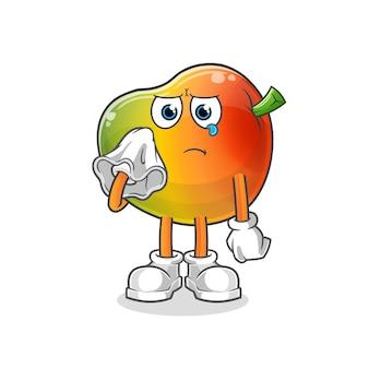 Il mango piange con un carattere velato. mascotte dei cartoni animati