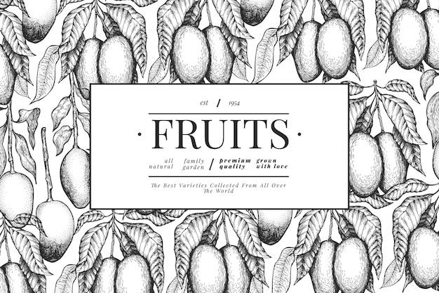 Modello di disegno di mango illustrazione disegnata a mano della frutta tropicale di vettore.