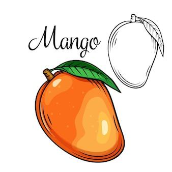 Icona di disegno di mango frutta tropicale disegnata a mano