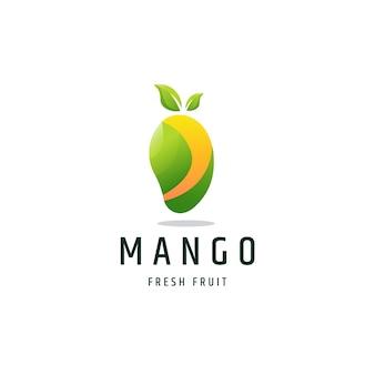 Illustrazione di vettore del modello di progettazione dell'icona di logo di gradiente variopinto della frutta del mango