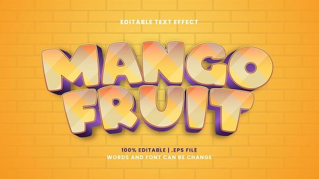 Effetto di testo modificabile frutto di mango in moderno stile 3d