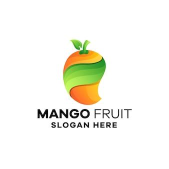 Modello di logo sfumato di frutta mango