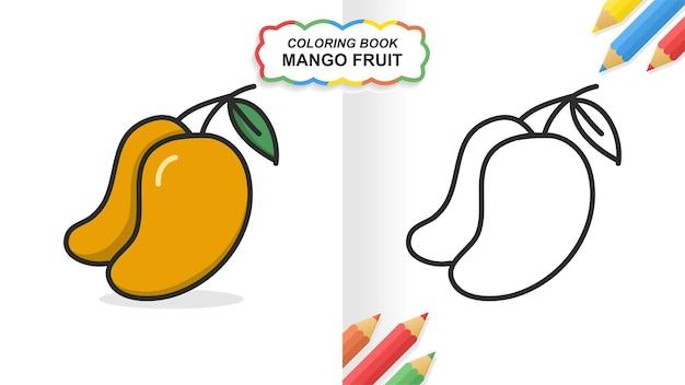 Libro da colorare disegnato a mano della frutta del mango per l'apprendimento. colore piatto pronto per la stampa