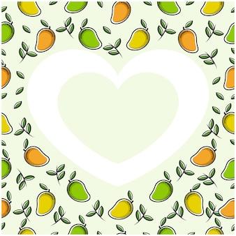 Cornice cuore amore frutto di mango con design piatto
