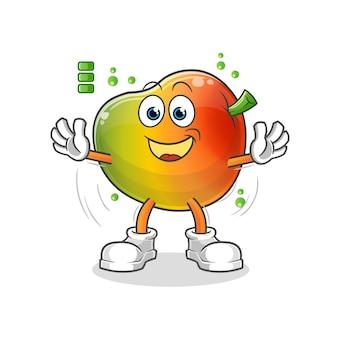 Carattere di batteria piena di mango. mascotte dei cartoni animati