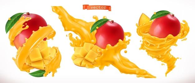 Set 3d di succo di mango