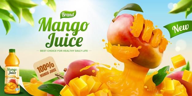 Annunci banner di succo di mango con effetto di frutta che afferra la mano liquida sullo sfondo del cielo blu in illustrazione 3d
