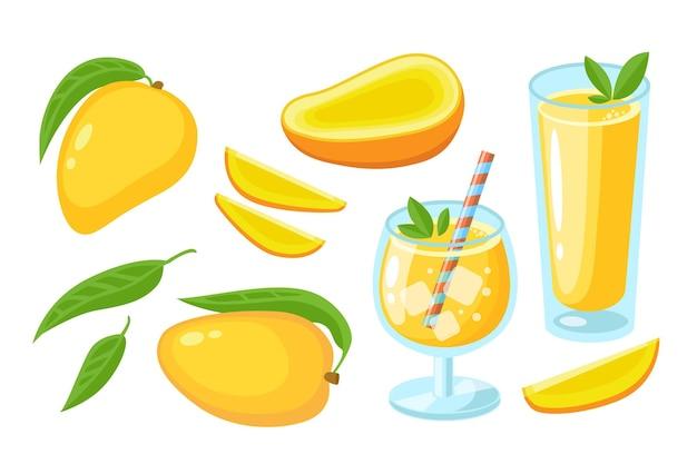 Succo di mango, cocktail, fetta, intero con foglie e pezzi set isolato su bianco. elemento del logo di succo o marmellata. frutti tropicali dell'illustrazione piana di vettore. design per stampa, banner, sfondo, packaging
