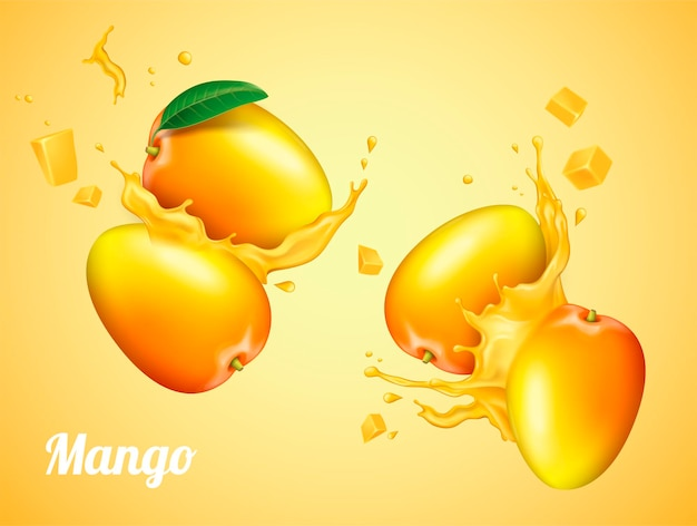 Succo di mango con frutta fresca in 3d'illustrazione Vettore Premium