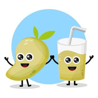 Succo di mango con logo in vetro simpatico personaggio