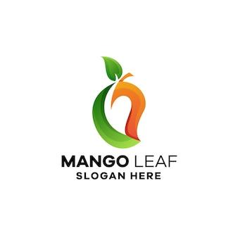 Modello di logo sfumato foglia di mango