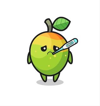 Personaggio mascotte mango con febbre, design in stile carino per maglietta, adesivo, elemento logo