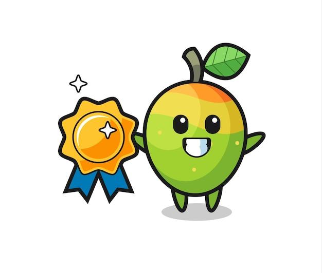 Illustrazione della mascotte del mango che tiene un distintivo dorato, design in stile carino per maglietta, adesivo, elemento logo