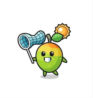 L'illustrazione della mascotte del mango sta catturando la farfalla, il design in stile carino per la maglietta, l'adesivo, l'elemento del logo